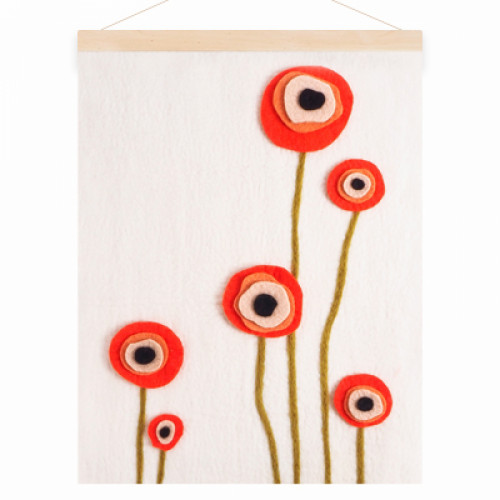Vilten wanddecoratie - Poppy field